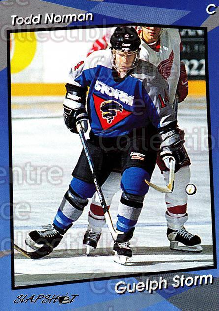 1993-94 Guelph Storm #12 Todd Norman<br/>8 In Stock - $3.00 each - <a href=https://centericecollectibles.foxycart.com/cart?name=1993-94%20Guelph%20Storm%20%2312%20Todd%20Norman...&quantity_max=8&price=$3.00&code=7114 class=foxycart> Buy it now! </a>