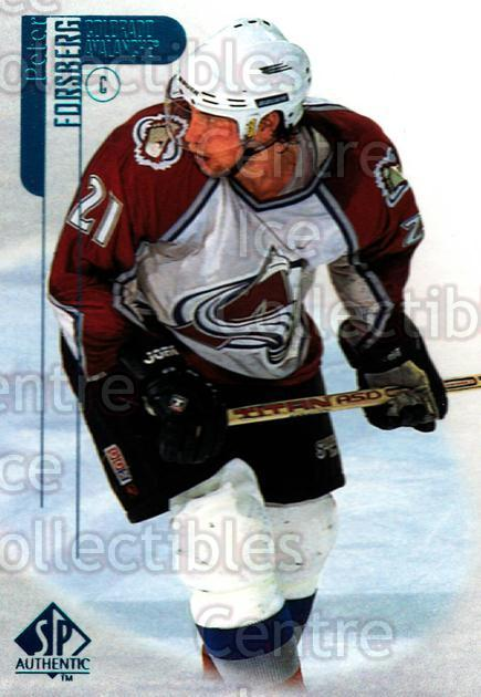 1998-99 Sp Authentic #20 Peter Forsberg<br/>9 In Stock - $1.00 each - <a href=https://centericecollectibles.foxycart.com/cart?name=1998-99%20Sp%20Authentic%20%2320%20Peter%20Forsberg...&quantity_max=9&price=$1.00&code=71151 class=foxycart> Buy it now! </a>