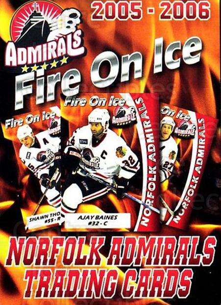2005-06 Norfolk Admirals #1 Checklist<br/>1 In Stock - $3.00 each - <a href=https://centericecollectibles.foxycart.com/cart?name=2005-06%20Norfolk%20Admirals%20%231%20Checklist...&price=$3.00&code=712471 class=foxycart> Buy it now! </a>