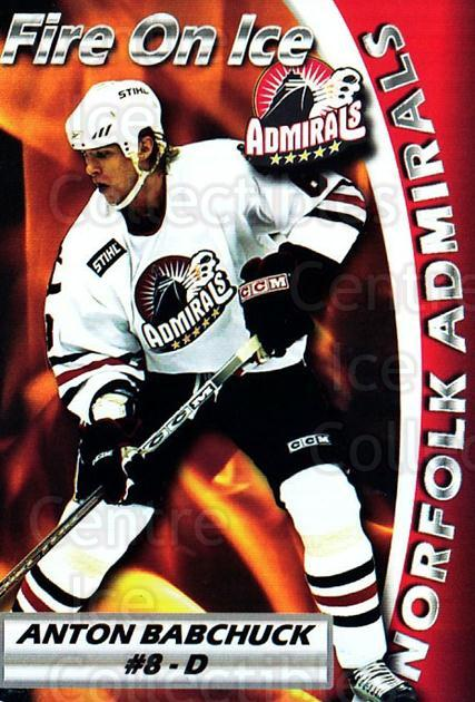 2005-06 Norfolk Admirals #6 Anton Babchuk<br/>1 In Stock - $3.00 each - <a href=https://centericecollectibles.foxycart.com/cart?name=2005-06%20Norfolk%20Admirals%20%236%20Anton%20Babchuk...&price=$3.00&code=712476 class=foxycart> Buy it now! </a>