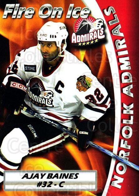 2005-06 Norfolk Admirals #21 Ajay Baines<br/>1 In Stock - $3.00 each - <a href=https://centericecollectibles.foxycart.com/cart?name=2005-06%20Norfolk%20Admirals%20%2321%20Ajay%20Baines...&price=$3.00&code=712491 class=foxycart> Buy it now! </a>