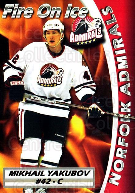 2005-06 Norfolk Admirals #23 Mikhail Yakubov<br/>1 In Stock - $3.00 each - <a href=https://centericecollectibles.foxycart.com/cart?name=2005-06%20Norfolk%20Admirals%20%2323%20Mikhail%20Yakubov...&quantity_max=1&price=$3.00&code=712493 class=foxycart> Buy it now! </a>