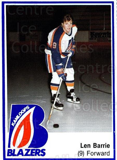 1989-90 Kamloops Blazers #1 Len Barrie<br/>2 In Stock - $3.00 each - <a href=https://centericecollectibles.foxycart.com/cart?name=1989-90%20Kamloops%20Blazers%20%231%20Len%20Barrie...&quantity_max=2&price=$3.00&code=712501 class=foxycart> Buy it now! </a>