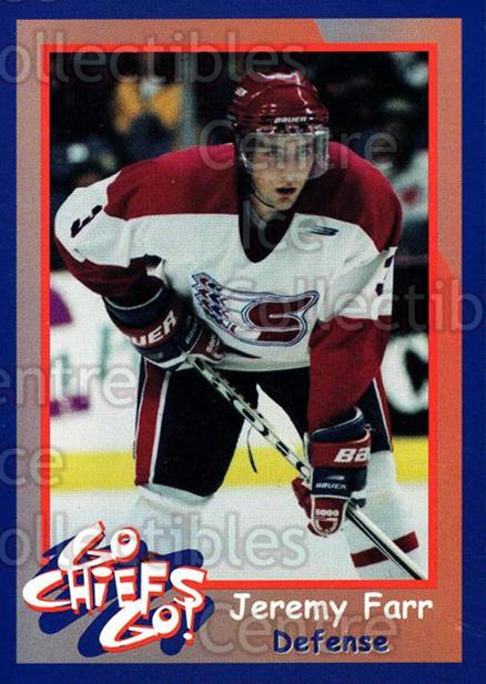 1998-99 Spokane Chiefs #3 Jeremy Farr<br/>5 In Stock - $3.00 each - <a href=https://centericecollectibles.foxycart.com/cart?name=1998-99%20Spokane%20Chiefs%20%233%20Jeremy%20Farr...&quantity_max=5&price=$3.00&code=71251 class=foxycart> Buy it now! </a>