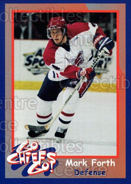 1998-99 Spokane Chiefs #4 Mark Forth<br/>3 In Stock - $3.00 each - <a href=https://centericecollectibles.foxycart.com/cart?name=1998-99%20Spokane%20Chiefs%20%234%20Mark%20Forth...&quantity_max=3&price=$3.00&code=71254 class=foxycart> Buy it now! </a>