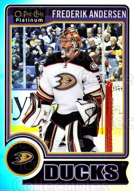 2014-15 O-Pee-Chee Platinum Rainbow #135 Frederik Andersen<br/>2 In Stock - $3.00 each - <a href=https://centericecollectibles.foxycart.com/cart?name=2014-15%20O-Pee-Chee%20Platinum%20Rainbow%20%23135%20Frederik%20Anders...&quantity_max=2&price=$3.00&code=712750 class=foxycart> Buy it now! </a>