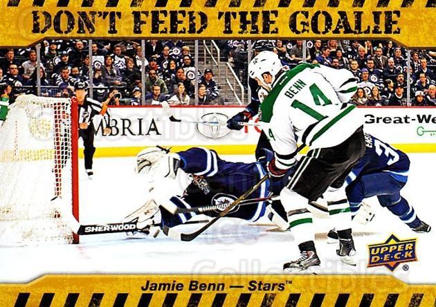 2016-17 Upper Deck Don't Feed The Goalie #JB Jamie Benn<br/>1 In Stock - $3.00 each - <a href=https://centericecollectibles.foxycart.com/cart?name=2016-17%20Upper%20Deck%20Don't%20Feed%20The%20Goalie%20%23JB%20Jamie%20Benn...&quantity_max=1&price=$3.00&code=713019 class=foxycart> Buy it now! </a>