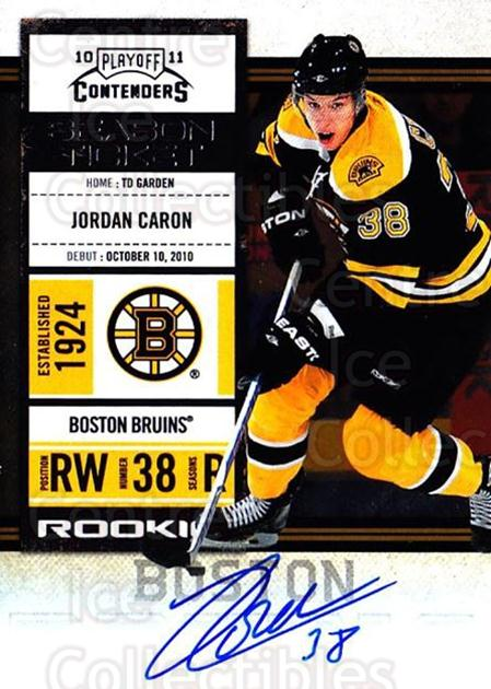 2010-11 Panini Contenders #119 Jordan Caron<br/>2 In Stock - $10.00 each - <a href=https://centericecollectibles.foxycart.com/cart?name=2010-11%20Panini%20Contenders%20%23119%20Jordan%20Caron...&quantity_max=2&price=$10.00&code=713262 class=foxycart> Buy it now! </a>