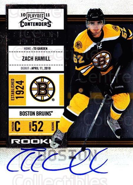 2010-11 Panini Contenders #121 Zach Hamill<br/>2 In Stock - $10.00 each - <a href=https://centericecollectibles.foxycart.com/cart?name=2010-11%20Panini%20Contenders%20%23121%20Zach%20Hamill...&quantity_max=2&price=$10.00&code=713264 class=foxycart> Buy it now! </a>