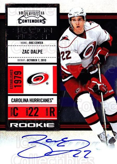 2010-11 Panini Contenders #125 Zac Dalpe<br/>2 In Stock - $10.00 each - <a href=https://centericecollectibles.foxycart.com/cart?name=2010-11%20Panini%20Contenders%20%23125%20Zac%20Dalpe...&quantity_max=2&price=$10.00&code=713268 class=foxycart> Buy it now! </a>