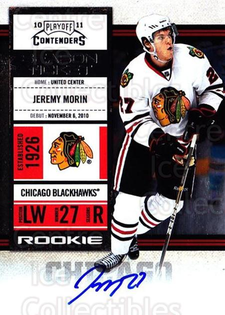 2010-11 Panini Contenders #128 Jeremy Morin<br/>2 In Stock - $10.00 each - <a href=https://centericecollectibles.foxycart.com/cart?name=2010-11%20Panini%20Contenders%20%23128%20Jeremy%20Morin...&quantity_max=2&price=$10.00&code=713271 class=foxycart> Buy it now! </a>