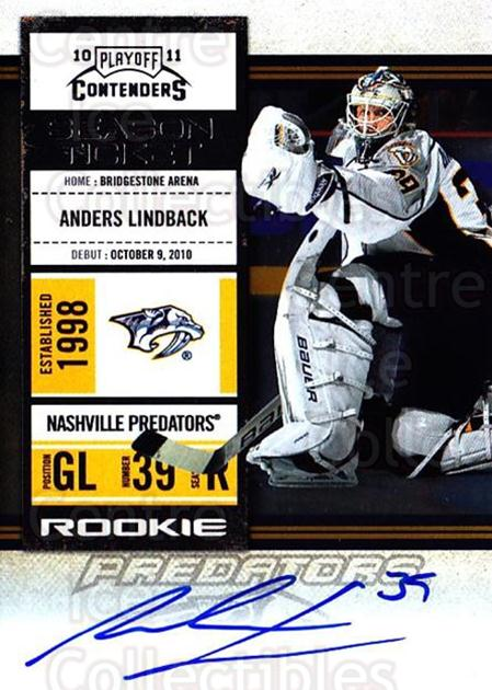 2010-11 Panini Contenders #143 Anders Lindback<br/>2 In Stock - $10.00 each - <a href=https://centericecollectibles.foxycart.com/cart?name=2010-11%20Panini%20Contenders%20%23143%20Anders%20Lindback...&quantity_max=2&price=$10.00&code=713286 class=foxycart> Buy it now! </a>