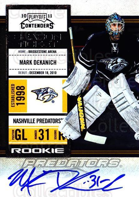 2010-11 Panini Contenders #144 Mark Dekanich<br/>2 In Stock - $10.00 each - <a href=https://centericecollectibles.foxycart.com/cart?name=2010-11%20Panini%20Contenders%20%23144%20Mark%20Dekanich...&quantity_max=2&price=$10.00&code=713287 class=foxycart> Buy it now! </a>