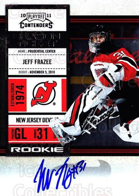 2010-11 Panini Contenders #145 Jeff Frazee<br/>2 In Stock - $10.00 each - <a href=https://centericecollectibles.foxycart.com/cart?name=2010-11%20Panini%20Contenders%20%23145%20Jeff%20Frazee...&quantity_max=2&price=$10.00&code=713288 class=foxycart> Buy it now! </a>