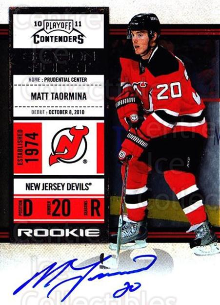2010-11 Panini Contenders #147 Matt Taormina<br/>2 In Stock - $10.00 each - <a href=https://centericecollectibles.foxycart.com/cart?name=2010-11%20Panini%20Contenders%20%23147%20Matt%20Taormina...&quantity_max=2&price=$10.00&code=713290 class=foxycart> Buy it now! </a>