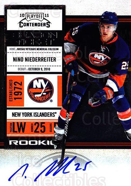 2010-11 Panini Contenders #150 Nino Niederreiter<br/>2 In Stock - $10.00 each - <a href=https://centericecollectibles.foxycart.com/cart?name=2010-11%20Panini%20Contenders%20%23150%20Nino%20Niederreit...&quantity_max=2&price=$10.00&code=713293 class=foxycart> Buy it now! </a>