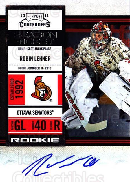 2010-11 Panini Contenders #153 Robin Lehner<br/>1 In Stock - $10.00 each - <a href=https://centericecollectibles.foxycart.com/cart?name=2010-11%20Panini%20Contenders%20%23153%20Robin%20Lehner...&quantity_max=1&price=$10.00&code=713296 class=foxycart> Buy it now! </a>