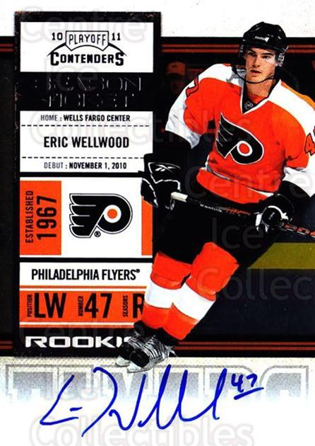 2010-11 Panini Contenders #155 Eric Wellwood<br/>2 In Stock - $10.00 each - <a href=https://centericecollectibles.foxycart.com/cart?name=2010-11%20Panini%20Contenders%20%23155%20Eric%20Wellwood...&quantity_max=2&price=$10.00&code=713298 class=foxycart> Buy it now! </a>
