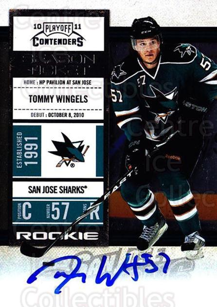 2010-11 Panini Contenders #159 Tommy Wingels<br/>2 In Stock - $10.00 each - <a href=https://centericecollectibles.foxycart.com/cart?name=2010-11%20Panini%20Contenders%20%23159%20Tommy%20Wingels...&quantity_max=2&price=$10.00&code=713302 class=foxycart> Buy it now! </a>