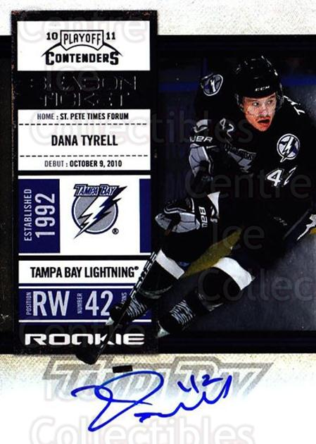 2010-11 Panini Contenders #162 Dana Tyrell<br/>2 In Stock - $10.00 each - <a href=https://centericecollectibles.foxycart.com/cart?name=2010-11%20Panini%20Contenders%20%23162%20Dana%20Tyrell...&quantity_max=2&price=$10.00&code=713305 class=foxycart> Buy it now! </a>