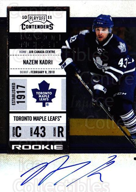 2010-11 Panini Contenders #163 Nazem Kadri<br/>1 In Stock - $20.00 each - <a href=https://centericecollectibles.foxycart.com/cart?name=2010-11%20Panini%20Contenders%20%23163%20Nazem%20Kadri...&quantity_max=1&price=$20.00&code=713306 class=foxycart> Buy it now! </a>