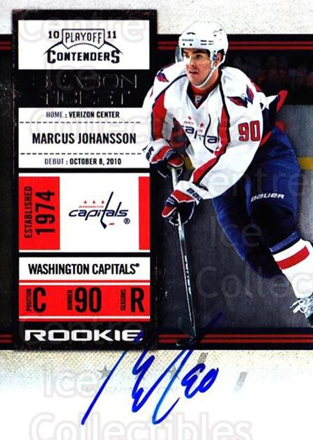 2010-11 Panini Contenders #165 Marcus Johansson<br/>2 In Stock - $10.00 each - <a href=https://centericecollectibles.foxycart.com/cart?name=2010-11%20Panini%20Contenders%20%23165%20Marcus%20Johansso...&quantity_max=2&price=$10.00&code=713308 class=foxycart> Buy it now! </a>