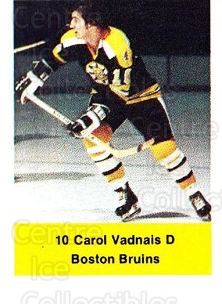 1974-75 NHL Action Stamps #23 Carol Vadnais<br/>1 In Stock - $3.00 each - <a href=https://centericecollectibles.foxycart.com/cart?name=1974-75%20NHL%20Action%20Stamps%20%2323%20Carol%20Vadnais...&quantity_max=1&price=$3.00&code=713358 class=foxycart> Buy it now! </a>