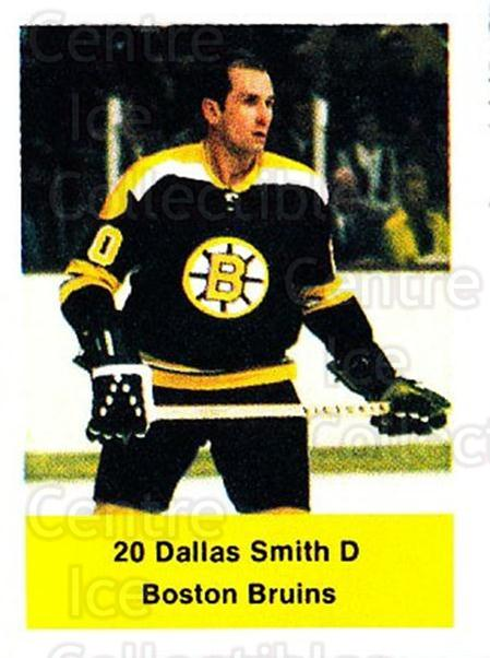 1974-75 NHL Action Stamps #33 Dallas Smith<br/>1 In Stock - $3.00 each - <a href=https://centericecollectibles.foxycart.com/cart?name=1974-75%20NHL%20Action%20Stamps%20%2333%20Dallas%20Smith...&quantity_max=1&price=$3.00&code=713368 class=foxycart> Buy it now! </a>