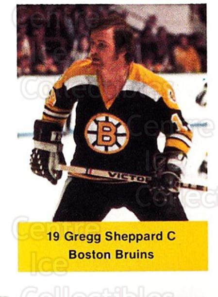 1974-75 NHL Action Stamps #35 Gregg Sheppard<br/>1 In Stock - $3.00 each - <a href=https://centericecollectibles.foxycart.com/cart?name=1974-75%20NHL%20Action%20Stamps%20%2335%20Gregg%20Sheppard...&quantity_max=1&price=$3.00&code=713370 class=foxycart> Buy it now! </a>