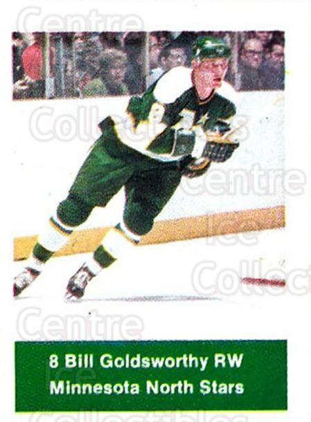 1974-75 NHL Action Stamps #127 Bill Goldsworthy<br/>1 In Stock - $3.00 each - <a href=https://centericecollectibles.foxycart.com/cart?name=1974-75%20NHL%20Action%20Stamps%20%23127%20Bill%20Goldsworth...&quantity_max=1&price=$3.00&code=713462 class=foxycart> Buy it now! </a>
