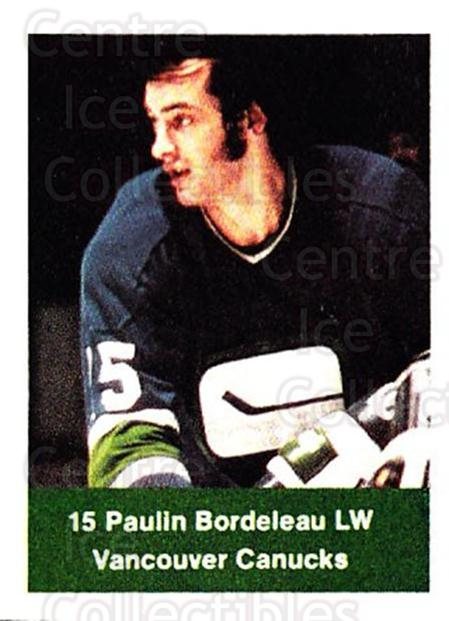 1974-75 NHL Action Stamps #283 Paulin Bordeleau<br/>1 In Stock - $3.00 each - <a href=https://centericecollectibles.foxycart.com/cart?name=1974-75%20NHL%20Action%20Stamps%20%23283%20Paulin%20Bordelea...&quantity_max=1&price=$3.00&code=713618 class=foxycart> Buy it now! </a>