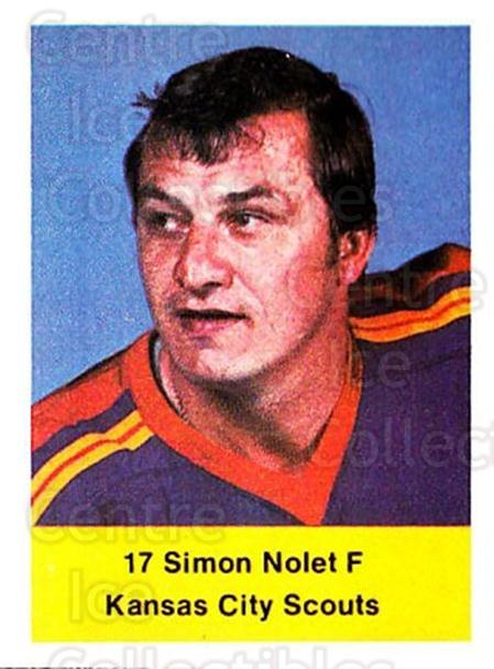 1974-75 NHL Action Stamps #293 Simon Nolet<br/>1 In Stock - $3.00 each - <a href=https://centericecollectibles.foxycart.com/cart?name=1974-75%20NHL%20Action%20Stamps%20%23293%20Simon%20Nolet...&quantity_max=1&price=$3.00&code=713628 class=foxycart> Buy it now! </a>