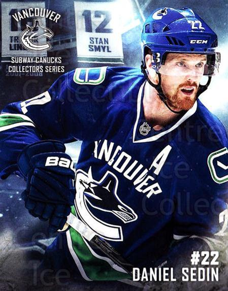 2016-17 Vancouver Canucks Subway #6 Daniel Sedin<br/>4 In Stock - $3.00 each - <a href=https://centericecollectibles.foxycart.com/cart?name=2016-17%20Vancouver%20Canucks%20Subway%20%236%20Daniel%20Sedin...&quantity_max=4&price=$3.00&code=713744 class=foxycart> Buy it now! </a>