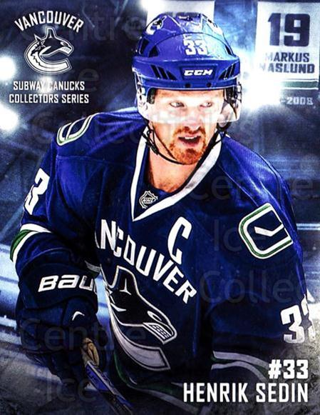2016-17 Vancouver Canucks Subway #11 Henrik Sedin<br/>6 In Stock - $3.00 each - <a href=https://centericecollectibles.foxycart.com/cart?name=2016-17%20Vancouver%20Canucks%20Subway%20%2311%20Henrik%20Sedin...&quantity_max=6&price=$3.00&code=713749 class=foxycart> Buy it now! </a>