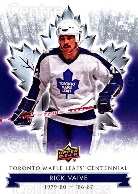 2017-18 Toronto Maple Leafs Centennial #1 Rick Vaive<br/>7 In Stock - $2.00 each - <a href=https://centericecollectibles.foxycart.com/cart?name=2017-18%20Toronto%20Maple%20Leafs%20Centennial%20%231%20Rick%20Vaive...&quantity_max=7&price=$2.00&code=714055 class=foxycart> Buy it now! </a>