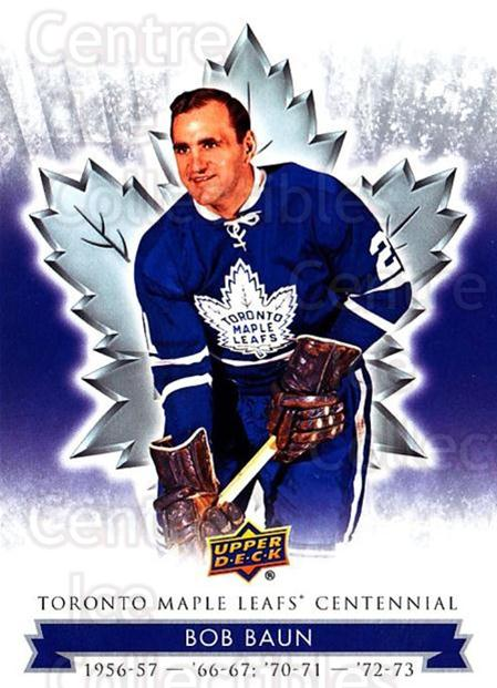 2017-18 Toronto Maple Leafs Centennial #37 Bob Baun<br/>7 In Stock - $2.00 each - <a href=https://centericecollectibles.foxycart.com/cart?name=2017-18%20Toronto%20Maple%20Leafs%20Centennial%20%2337%20Bob%20Baun...&price=$2.00&code=714091 class=foxycart> Buy it now! </a>