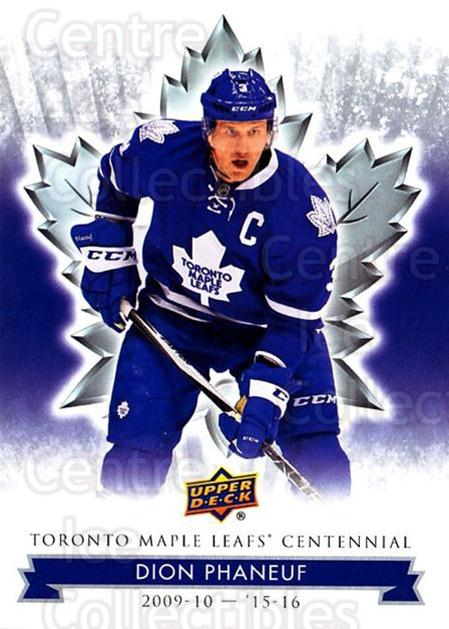 2017-18 Toronto Maple Leafs Centennial #83 Dion Phaneuf<br/>7 In Stock - $2.00 each - <a href=https://centericecollectibles.foxycart.com/cart?name=2017-18%20Toronto%20Maple%20Leafs%20Centennial%20%2383%20Dion%20Phaneuf...&quantity_max=7&price=$2.00&code=714137 class=foxycart> Buy it now! </a>