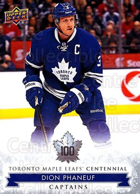 2017-18 Toronto Maple Leafs Centennial #109 Dion Phaneuf<br/>2 In Stock - $2.00 each - <a href=https://centericecollectibles.foxycart.com/cart?name=2017-18%20Toronto%20Maple%20Leafs%20Centennial%20%23109%20Dion%20Phaneuf...&quantity_max=2&price=$2.00&code=714163 class=foxycart> Buy it now! </a>