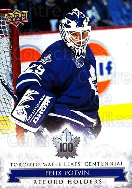 2017-18 Toronto Maple Leafs Centennial #144 Felix Potvin<br/>6 In Stock - $2.00 each - <a href=https://centericecollectibles.foxycart.com/cart?name=2017-18%20Toronto%20Maple%20Leafs%20Centennial%20%23144%20Felix%20Potvin...&quantity_max=6&price=$2.00&code=714198 class=foxycart> Buy it now! </a>