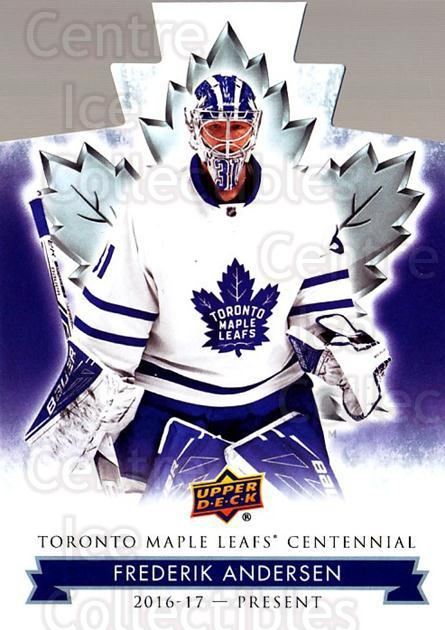 2017-18 Toronto Maple Leafs Centennial Die Cut #80 Frederik Andersen<br/>1 In Stock - $3.00 each - <a href=https://centericecollectibles.foxycart.com/cart?name=2017-18%20Toronto%20Maple%20Leafs%20Centennial%20Die%20Cut%20%2380%20Frederik%20Anders...&quantity_max=1&price=$3.00&code=714334 class=foxycart> Buy it now! </a>