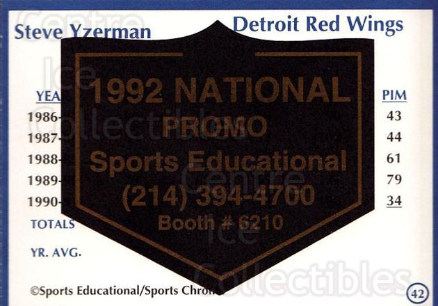 1991-92 Sports Educational National Promo #42 Steve Yzerman<br/>1 In Stock - $10.00 each - <a href=https://centericecollectibles.foxycart.com/cart?name=1991-92%20Sports%20Educational%20National%20Promo%20%2342%20Steve%20Yzerman...&quantity_max=1&price=$10.00&code=714842 class=foxycart> Buy it now! </a>