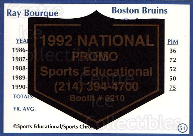 1991-92 Sports Educational National Promo #51 Ray Bourque<br/>1 In Stock - $5.00 each - <a href=https://centericecollectibles.foxycart.com/cart?name=1991-92%20Sports%20Educational%20National%20Promo%20%2351%20Ray%20Bourque...&quantity_max=1&price=$5.00&code=714848 class=foxycart> Buy it now! </a>