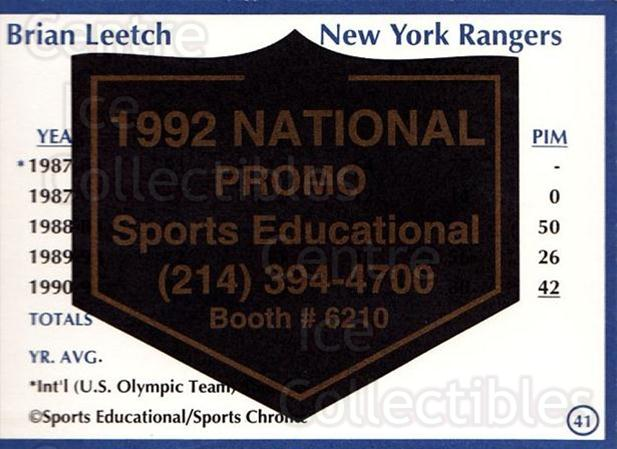 1991-92 Sports Educational National Promo #41 Brian Leetch<br/>1 In Stock - $5.00 each - <a href=https://centericecollectibles.foxycart.com/cart?name=1991-92%20Sports%20Educational%20National%20Promo%20%2341%20Brian%20Leetch...&quantity_max=1&price=$5.00&code=714852 class=foxycart> Buy it now! </a>