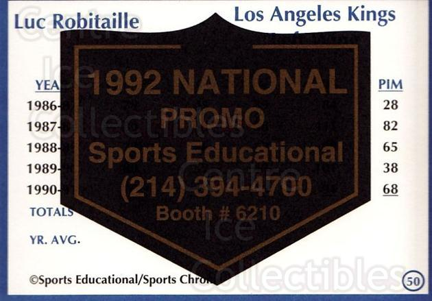 1991-92 Sports Educational National Promo #50 Luc Robitaille<br/>1 In Stock - $5.00 each - <a href=https://centericecollectibles.foxycart.com/cart?name=1991-92%20Sports%20Educational%20National%20Promo%20%2350%20Luc%20Robitaille...&quantity_max=1&price=$5.00&code=714855 class=foxycart> Buy it now! </a>
