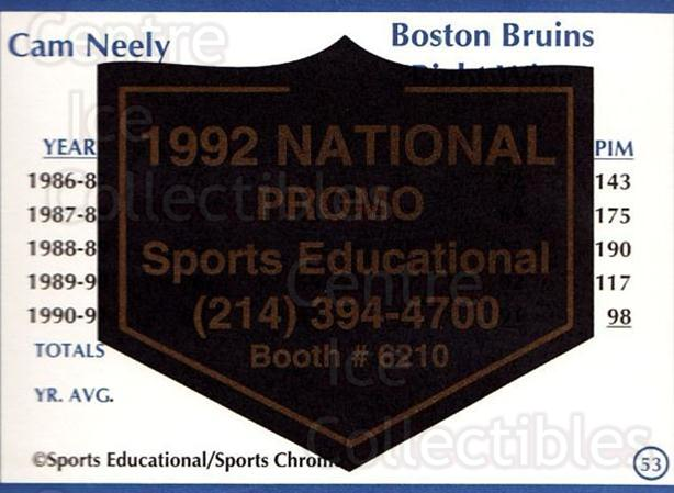 1991-92 Sports Educational National Promo #53 Cam Neely<br/>1 In Stock - $5.00 each - <a href=https://centericecollectibles.foxycart.com/cart?name=1991-92%20Sports%20Educational%20National%20Promo%20%2353%20Cam%20Neely...&quantity_max=1&price=$5.00&code=714857 class=foxycart> Buy it now! </a>