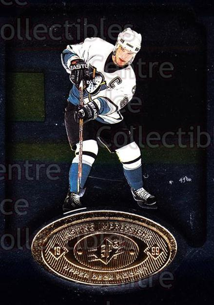 1998-99 SPx Top Prospects Lasting Impressions #3 Paul Kariya<br/>5 In Stock - $3.00 each - <a href=https://centericecollectibles.foxycart.com/cart?name=1998-99%20SPx%20Top%20Prospects%20Lasting%20Impressions%20%233%20Paul%20Kariya...&price=$3.00&code=71490 class=foxycart> Buy it now! </a>