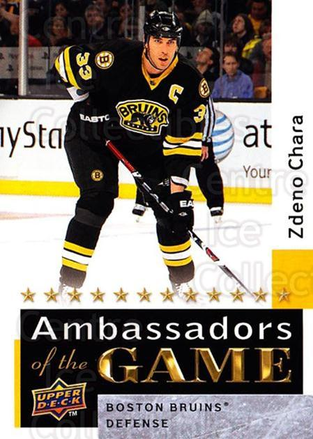 2009-10 Upper Deck Ambassadors of the Game #32 Zdeno Chara<br/>3 In Stock - $3.00 each - <a href=https://centericecollectibles.foxycart.com/cart?name=2009-10%20Upper%20Deck%20Ambassadors%20of%20the%20Game%20%2332%20Zdeno%20Chara...&quantity_max=3&price=$3.00&code=715116 class=foxycart> Buy it now! </a>