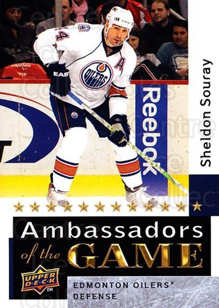 2009-10 Upper Deck Ambassadors of the Game #39 Sheldon Souray<br/>3 In Stock - $3.00 each - <a href=https://centericecollectibles.foxycart.com/cart?name=2009-10%20Upper%20Deck%20Ambassadors%20of%20the%20Game%20%2339%20Sheldon%20Souray...&quantity_max=3&price=$3.00&code=715123 class=foxycart> Buy it now! </a>