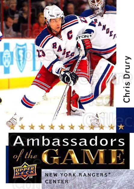 2009-10 Upper Deck Ambassadors of the Game #42 Chris Drury<br/>3 In Stock - $3.00 each - <a href=https://centericecollectibles.foxycart.com/cart?name=2009-10%20Upper%20Deck%20Ambassadors%20of%20the%20Game%20%2342%20Chris%20Drury...&quantity_max=3&price=$3.00&code=715126 class=foxycart> Buy it now! </a>