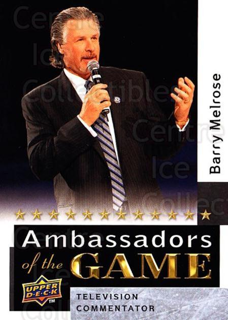 2009-10 Upper Deck Ambassadors of the Game #44 Barry Melrose<br/>2 In Stock - $3.00 each - <a href=https://centericecollectibles.foxycart.com/cart?name=2009-10%20Upper%20Deck%20Ambassadors%20of%20the%20Game%20%2344%20Barry%20Melrose...&quantity_max=2&price=$3.00&code=715128 class=foxycart> Buy it now! </a>